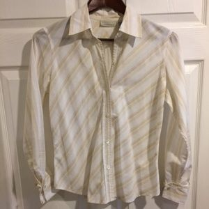 Banana Republic White Blouse w/ Tan Stripes Sz S